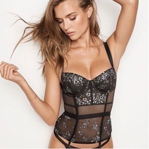 Victoria's Secret shine lace bustier corset 34B